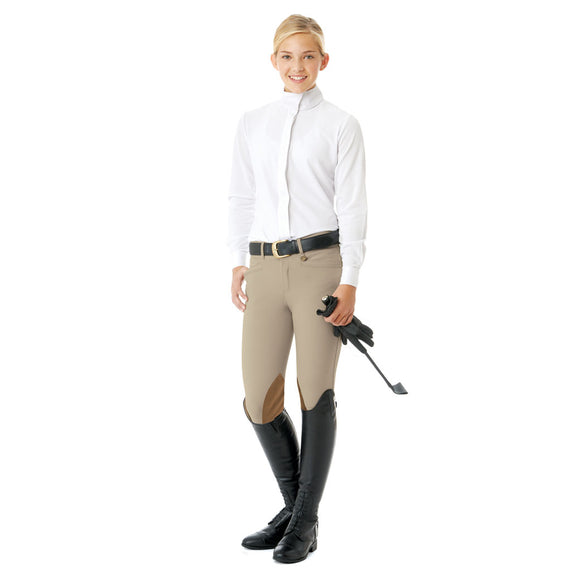 Ovation® EuroWeave™ Euro Seat Girl's Breech, Tan