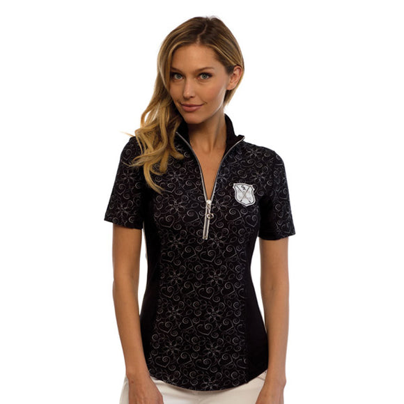 Goode Rider Ideal Show Shirt,  Black Flower