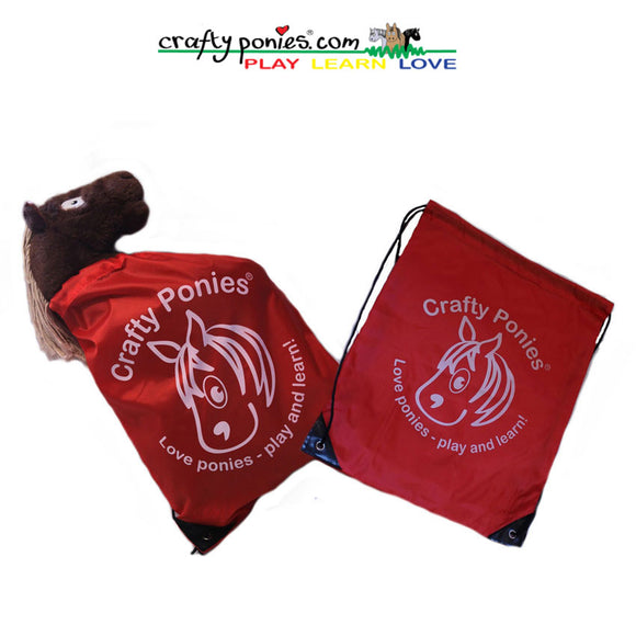 Crafty Pony Red Drawstring Bag