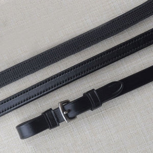 "KL Italia Rubber Lined 1/2"" Curb Reins,  Black"