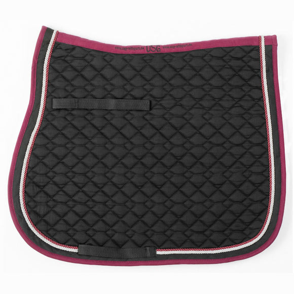 USG Dressage Saddle Pad,  Black, Burgundy & Silver