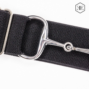 "Ellany 1.5"" Black, Silver Snaffle Buckle Belt"