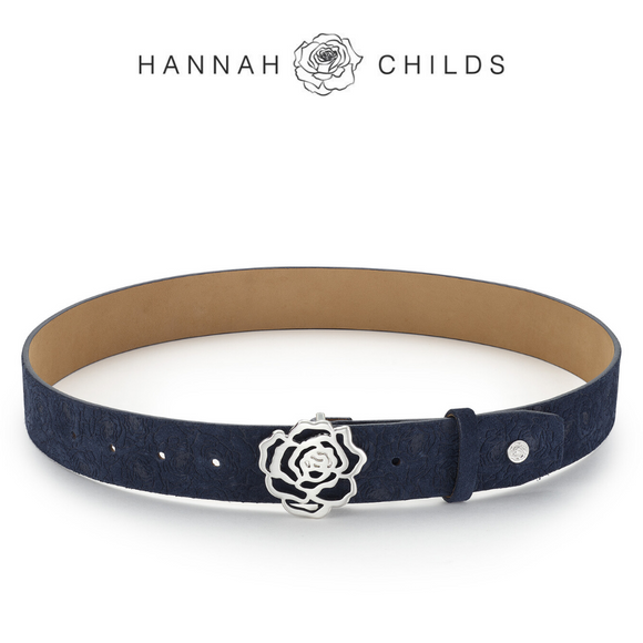 Hannah Childs Suede Signature Rose Belt,  Midnight Rose Embosed