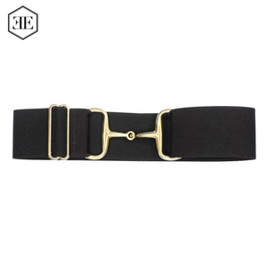 "Ellany 2"" Black Arrows, Gold Snaffle Buckle Belt"