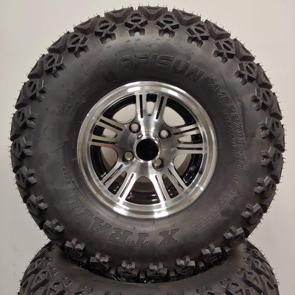 10in. Off Road 22 X 11-10 on Excalibur Black/Silver Wheel - Set of 4