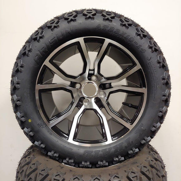 14in. Off Road 23x10x14 on Excalibur Black Silver Wheel - Set of 4