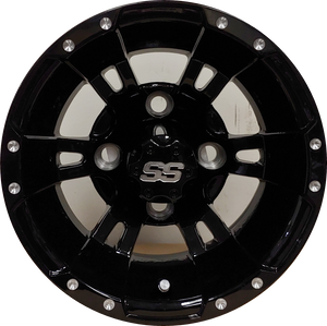 "10"" Aluminum Golf Cart Wheel - Excalibur Series 57 - Gloss Black"