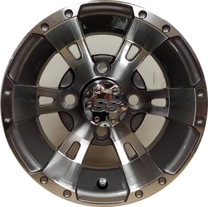 "10"" Aluminum Golf Cart Wheel - Excalibur Series 57 - Gunmetal w/ Machined Face"