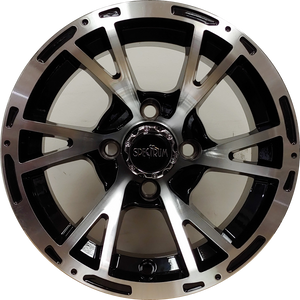 "12"" Aluminum Golf Cart Wheel - Excalibur Series 63 - Black w/Machined Face"