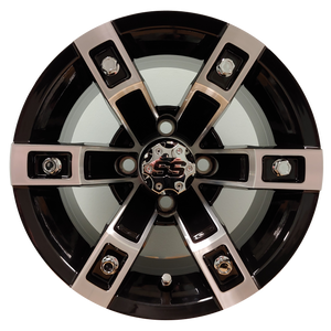 "12"" Aluminum Golf Cart Wheel - Excalibur Series 71 - Black w/ Machined Face"