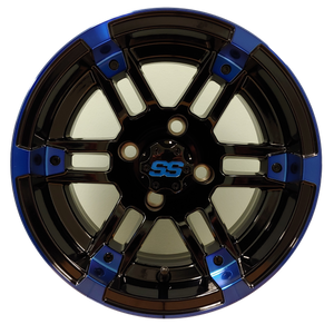 "12"" Aluminum Golf Cart Wheel - Excalibur Series 77 - Black/Blue Machined Face"