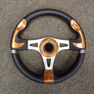 Woodgrain Custom F1 Golf Cart Steering Wheel with Adapter