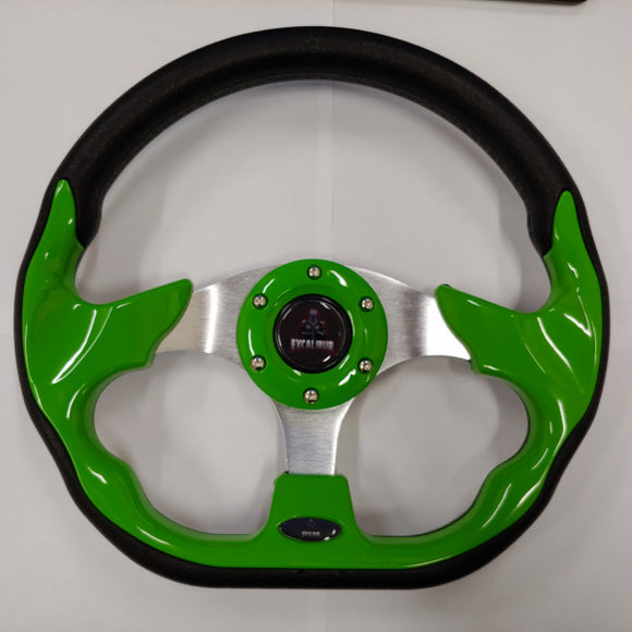 Green Custom Racer Golf Cart Steering Wheel