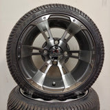 12in. Low Pro 215/35-12 on Excalibur Series 57 Gunmetal w/ Machined Face Wheel - Set of 4