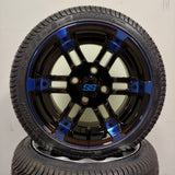 12in. Low Pro 215/35-12 on Excalibur Series 77 Black/Blue Machined Face Wheel - Set of 4