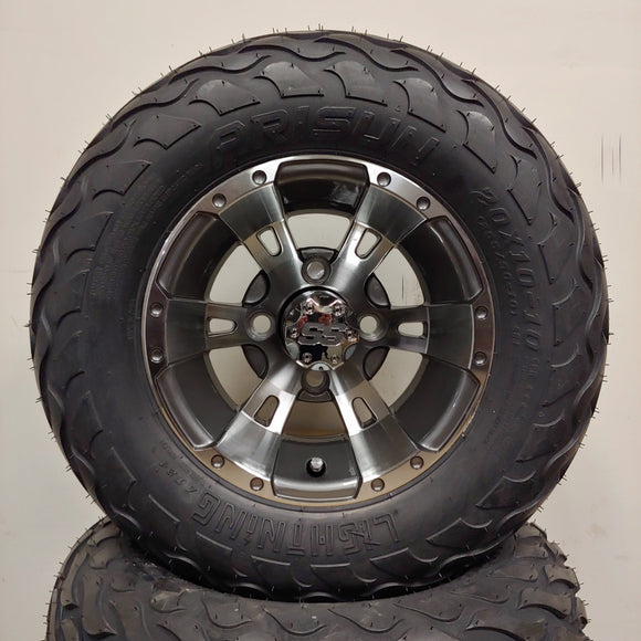 10in. LIGHTNING Off Road 20X10X10 on Excalibur Series 57 Gunmetal w/Machined Face - Set of 4