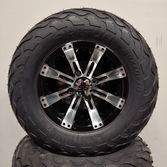10in. LIGHTNING Off Road 20X10X10 on Excalibur Series 75 Black w/Machined Face - Set of 4