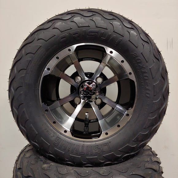 10in. LIGHTNING Off Road 20X10X10 on Excalibur Series 79 Black w/Machined Face - Set of 4