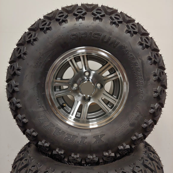 10in. Off Road 22 X 11-10 on Excalibur Gunmetal/Silver Wheel - Set of 4