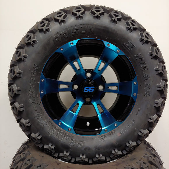12in. Off Road 23x10.5x12 on Excalibur Series 57 Black/Blue Wheel - Set of 4