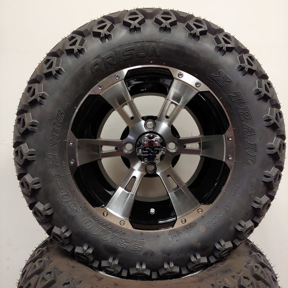 12in. Off Road 23x10.5x12 on Excalibur Series 57 Black w/ Machined Face Wheel - Set of 4