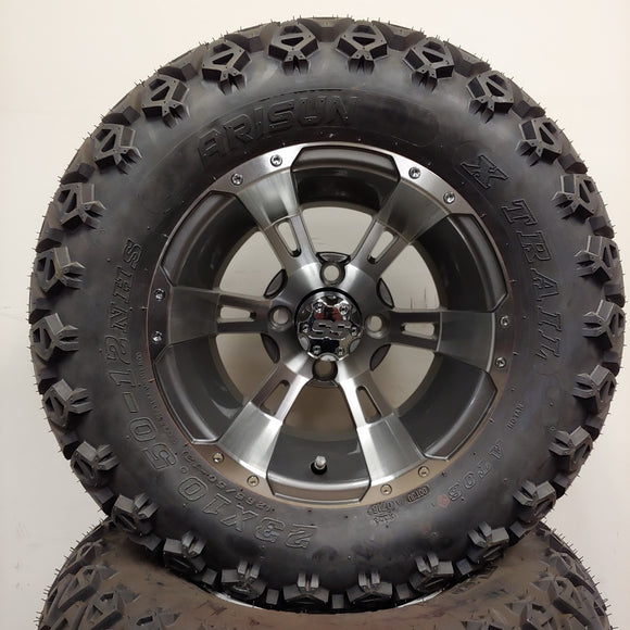 12in. Off Road 23x10.5x12 on Excalibur Series 57 Gunmetal w/ Machined Face Wheel - Set of 4