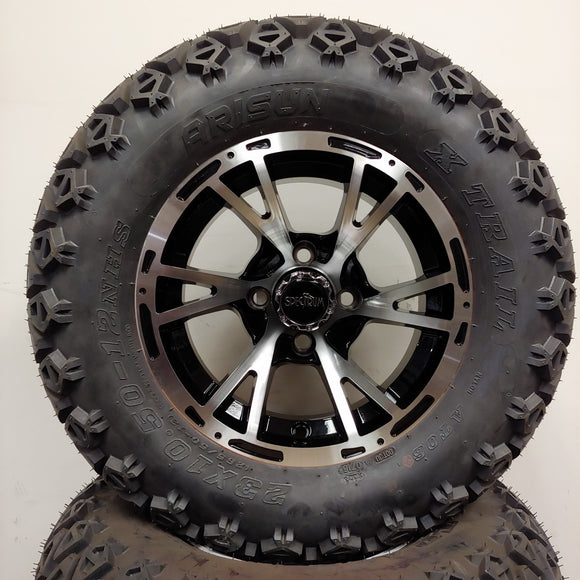 12in. Off Road 23x10.5x12 on Excalibur Series 63 Black w/ Machined Face Wheel - Set of 4