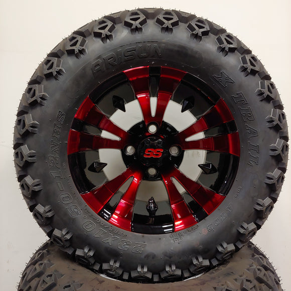 12in. Off Road 23x10.5x12 on Excalibur Series 74 Black/Red Wheel - Set of 4