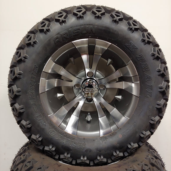 12in. Off Road 23x10.5x12 on Excalibur Series 74 Gunmetal w/ Machined Face Wheel - Set of 4