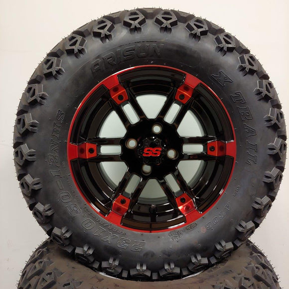 12in. Off Road 23x10.5x12 on Excalibur Series 77 Black/Red Machined Face Wheel - Set of 4