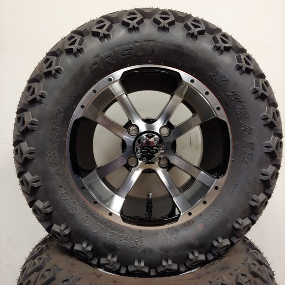 12in. Off Road 23x10.5x12 on Excalibur Series 79 Black w/ Machined Face Wheel - Set of 4