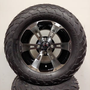 12in. LIGHTNING Off Road 23x10-12 on Excalibur Series 57 Black w/ Machined Face Wheel - Set of 4