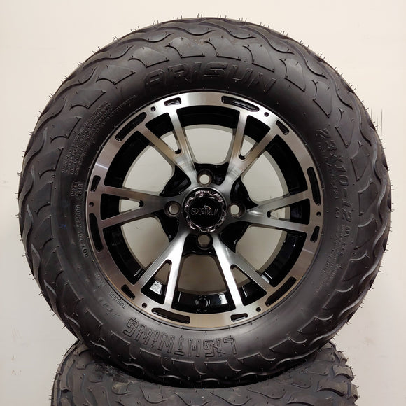 12in. LIGHTNING Off Road 23x10-12 on Excalibur Series 63 Black w/ Machined Face Wheel - Set of 4