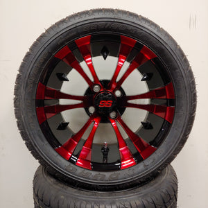 14in. Low Pro 225/40-14 on Excalibur Series 74 Black/Red Wheel - Set of 4