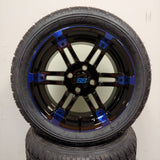 14in. Low Pro 205/30-14 on Excalibur Series 77 Black/Blue Wheel - Set of 4