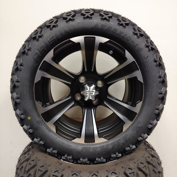 14in. Off Road 23x10x14 on SS312 Black Silver Wheel - Set of 4