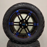 14in. LIGHTNING Off Road 23x10x14 on Excalibur Series 77 Black/Blue Wheel - Set of 4
