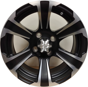 14in. Aluminum Golf Cart Wheel - SS312 - Black w/ Machined Face