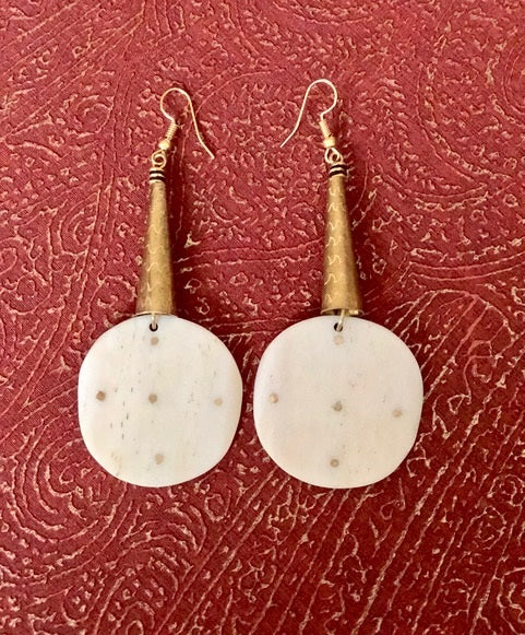 Berber Bone Earrings with Brass Inlay