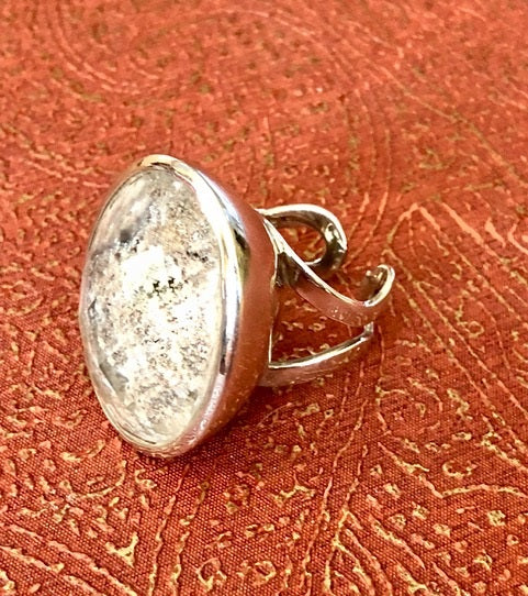 Picturesque Grey Crystal Dome Ring with Silver Band