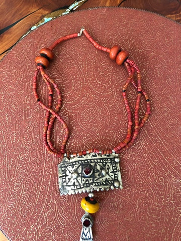 Berber Silver, Coral, Amber and Cut Glass Necklace