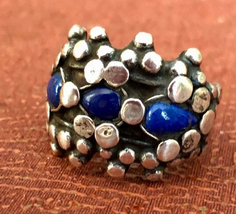 Antique Berber Ring of Silver and Lapis
