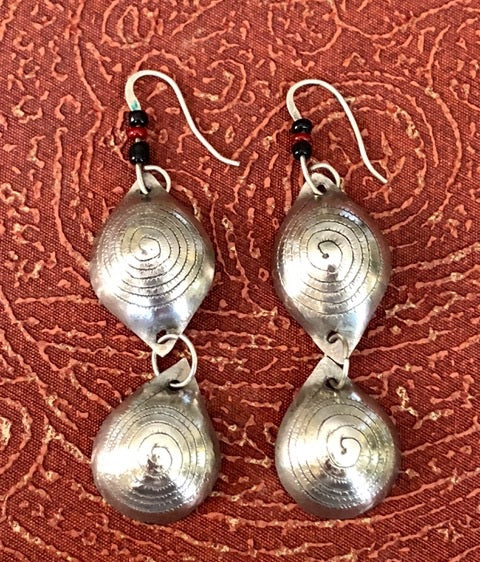Berber antique silver double hung earrings.