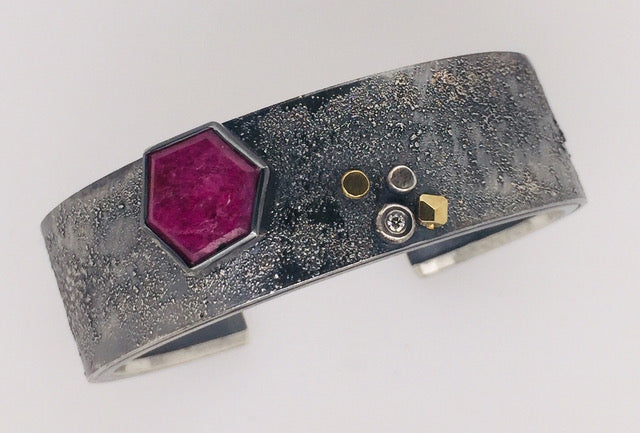 Roger Rimel Sterling Silver and 18K Gold Bracelet with Ruby Slice and Diamond