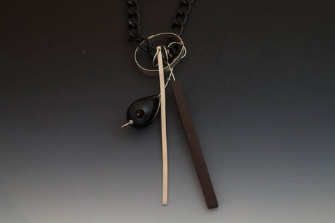 Caroline Viene Sterling and Steel Necklace with Ebony Components