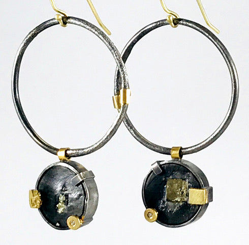 Roger Rimel Sterling Silver and 18K Gold Earrings with Pyrite in Slate and Diamonds