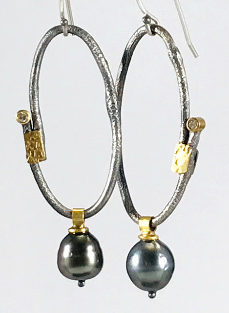 Roger Rimel Sterling Silver and 18K Gold Earrings with South Sea Pearls (Tahitian) and Diamond
