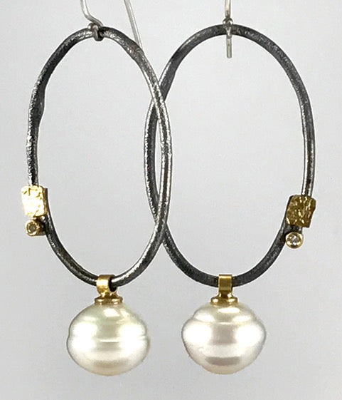Roger Rimel Sterling Silver and 18K Gold Earrings with South Sea Pearls (White) and Diamond
