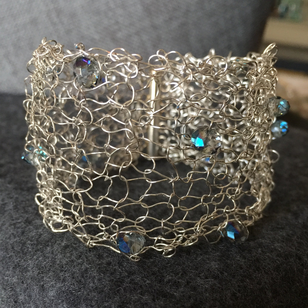 House of Katharine Handknit Bracelet with Blue Crystals