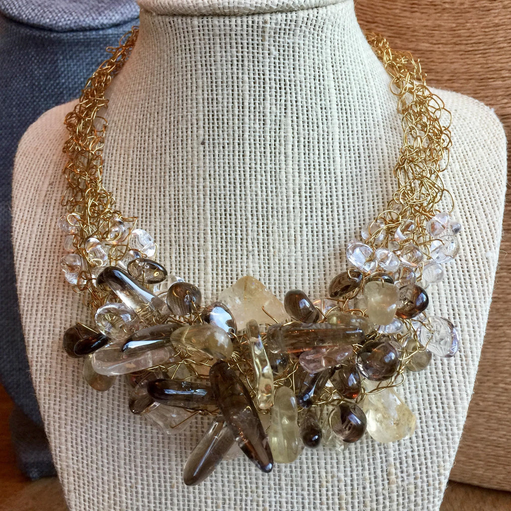 House of Katharine Smokey Quartz and Natural Quartz Necklace